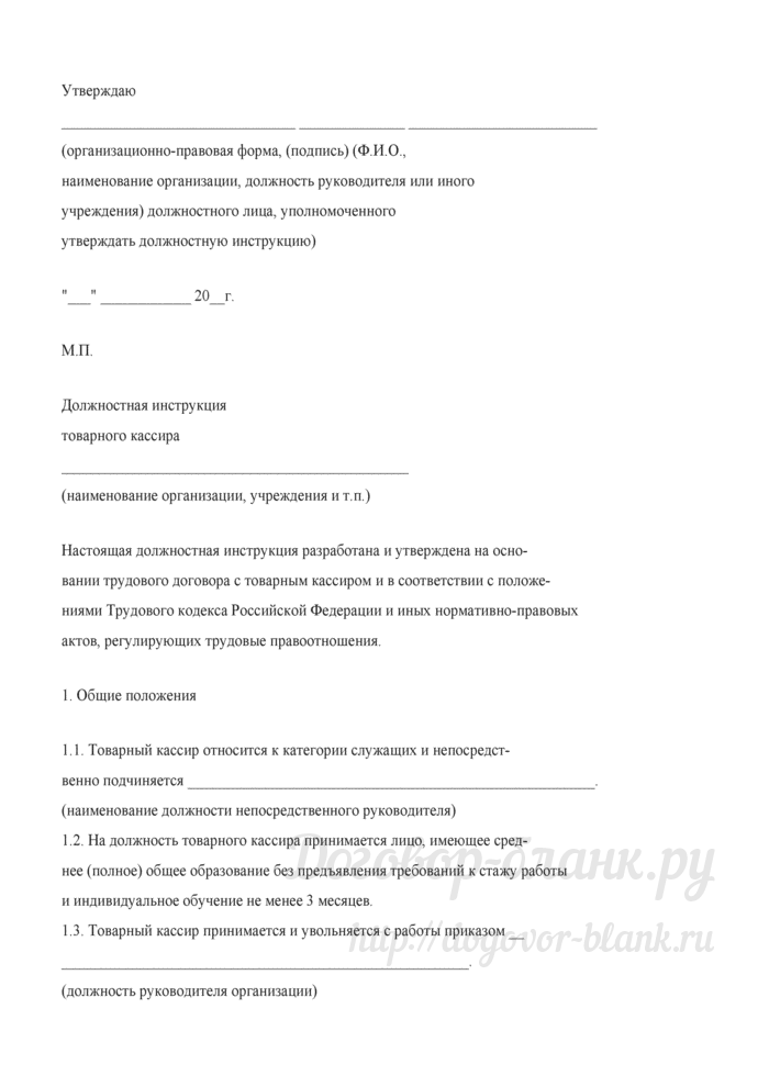 Примерная форма должностной инструкции товарного кассира. Лист 1